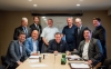 Chris Hodson, Cameron Grant, Bill MacRae, Tom Laughren, Kevin Edgson, Nick Stewart (first row), Derek Nighbor, Rocco Rossi, Mayor Steve Black and Paul-Emile McNab gathered in Timmins for a Resources Roundtable. (CNW Group/EACOM)
